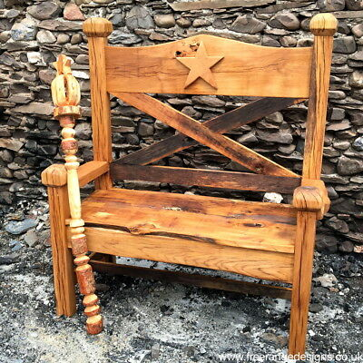 Carved oak Story Bench / 2 Seater Celebrity Bench / Garden Seat