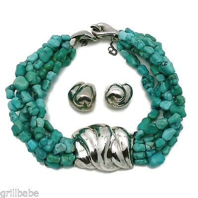 Patricia Von Musulin Modernist Sterling Silver Turquoise Necklace Earrings Set