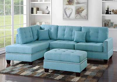 Modern Sectional Sofa L Shaped Couch Tufted Nailhead Trim Ottoman Blue  Fabric