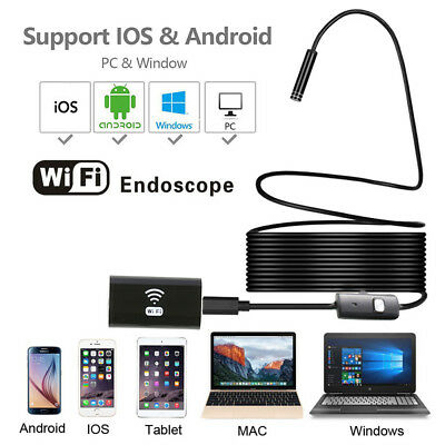 WIFI RIgid Cable Waterproof Endoscope USB 6LED Inespection HD Camera for iphone