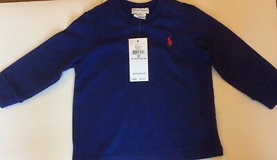 Bnwt Boys Ralph Lauren T Shirt Royal Blue Long Sleeves Size 6 Months