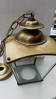 Brass Chandelier Light  1' Tall. Square w Beveled Glass and 2' chain