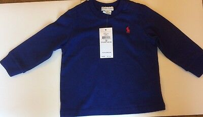 Bnwt Boys/girls Ralph Lauren T Shirt Royal Blue Long Sleeves Age 12 Months