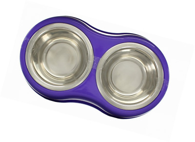 New Stainless Double Dog Cat Puppy Pet Non Slip Food Water Feeder Feeding Bowl