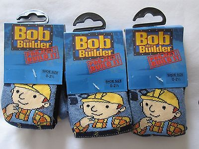 """Bnwt - 6 Pairs """"bob The Builder"""" Blue  Ankle Socks - Size0-2.5"""