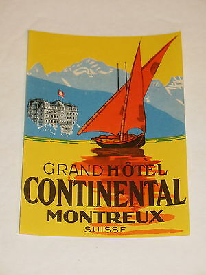 Grand Hotel Continental Montreux Suisse Switzerland Luggage Label