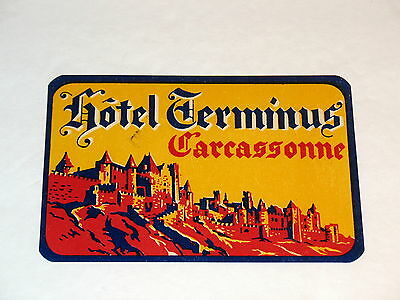 Hotel Terminus Carcassonne France Vintage Luggage Label