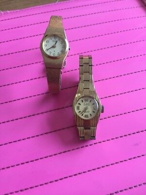Limit And Citizen Watches Gold Ladies Old Vintage Watch Bracelet 2 Watches