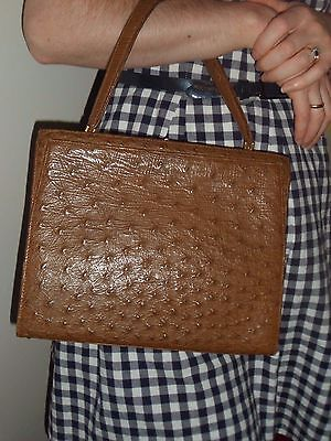 True Vintage 50s 60s Brown Ostrich LEATHER Box Bag ROCKABILLY Kelly Bag Handbag