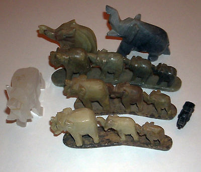 Lot 6 Hand Carved Stone Elephant Statues Made In India Home Decor Totem Animal
