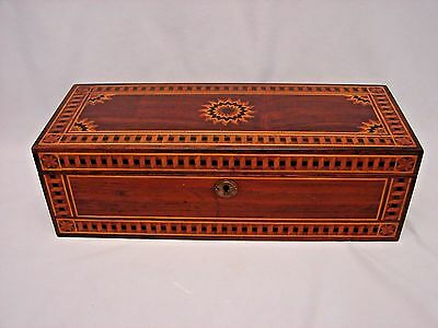 Antique Presentation Valuables Box w Exotic Wood Marquetry and Original Surface