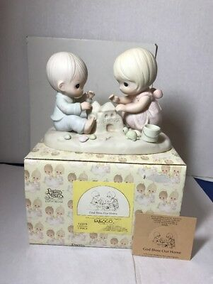 Precious Moments 1984 Sand Castle Boy Girl Turtle Box God Bless Our Home 12319