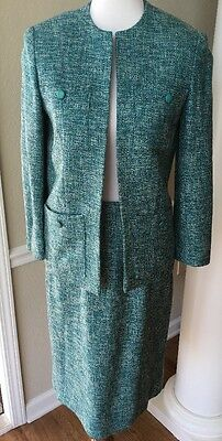 Custom Made Vintage Size 10-12 Teal Tweed Jacket and Skirt Suit Fully Lined EUC