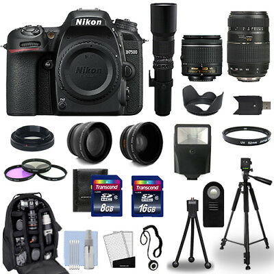 Nikon D7500 DSLR Camera Body + 5 Lens Kit: 18-55mm + 70-300mm + 500mm and More