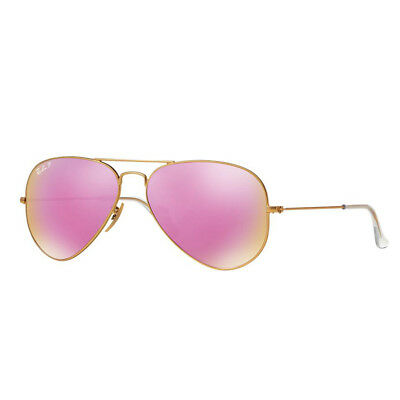 Ray Ban RB3025 112/1Q 58mm Gold Polarized Pink Flash Aviator Sunglasses