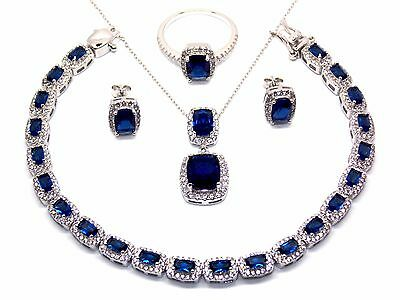 Sterling Silver Blue Sapphire And Diamond 30.21ct Necklace Set (925) Free Box