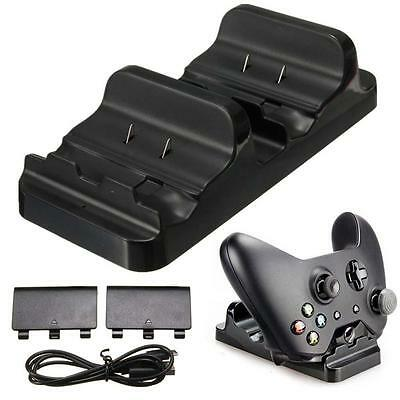 Dual Charging Dock Controller Charger +2x Rechargeable Batteries for XBOX ONE K0
