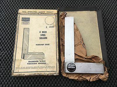"EXTREMELY RARE SEARS CRAFTSMAN COMMERCIAL Machinists  4"" Precision Steel Square"
