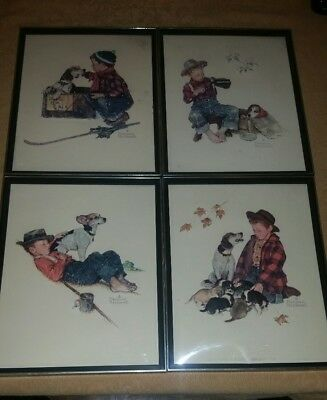 Lot of 4 Norman Rockwell 3D Prints In Frames