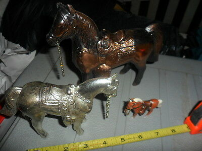 Horse Vintage  Metal  silver, painted , gold horse 3 Carnival Horses