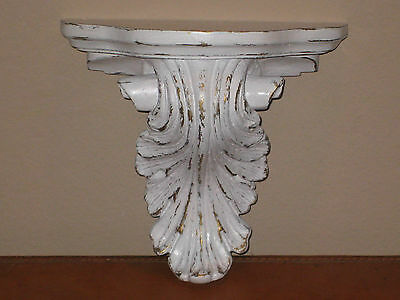 Distressed White Gold Wall Shelf Acanthus Leaf Corbel Sconce Shabby Decor Farm