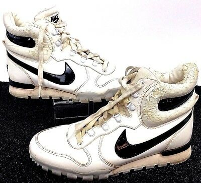 Vintage 80's Nike Sportswear High Top Shoes Mens Size 9 Slightly Worn White Blac