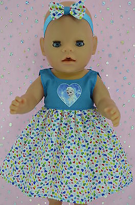 "Play n Wear Doll Clothes To Fit 17"" Baby Born TURQUOISE/HART DRESS~HEADBAND"