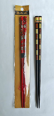 Chopsticks Japanese Lacquerware Abalone/Shell Inlay 2 Pairs Red & Brown New