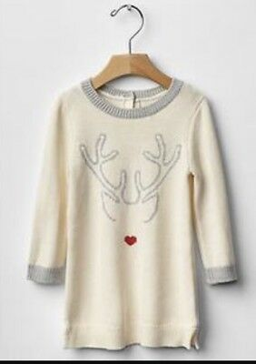 Baby Gap Holiday Deer Christmas Tunic Sweater 12 - 18 Months Cream, Grey, & Red