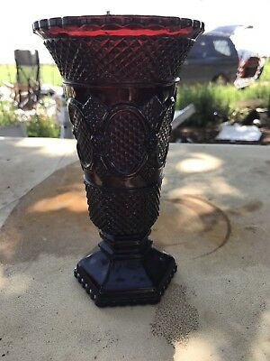 Vintage Avon Ruby Red Cape Cop Glass Flower Vase