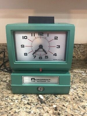 Acroprint Time Recorder Clock Model 125NR4 NO KEY