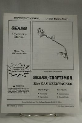 Owners Manual Sears Weedwacker #358,799240 32cc 2-cycle Gas Powered Engine 1994