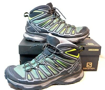 Mens Hiking Boots Gortex Waterproof S 9.5 X Ultra Mid 2 Gtx Solomon Vgc + Box