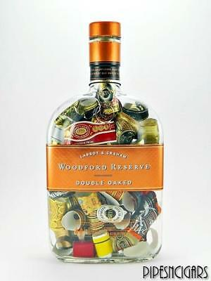 WOODFORD Double Oaked Glass Bottle w/Cigar Labels Bands - Display - Man Cave #2