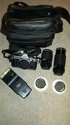 Vintage canon ae-1 camera lot with bag