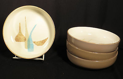 """Red Wing Mcm Pottery """"pompeii"""" Set 4 Coupe Cereal Bowls"""