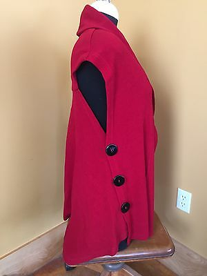 Women's Soft Surroundings Long Loose Red Open Front Vest w/ Buttons Size XS