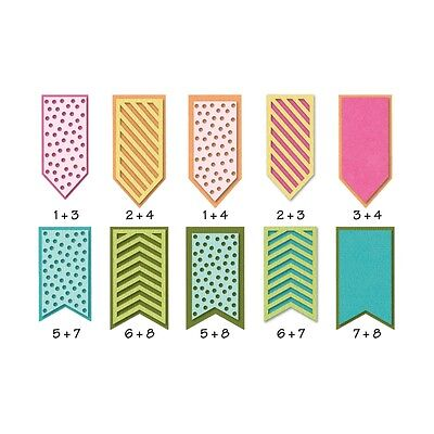 Sizzix metal mix & match Banners dies - for use in most cutting systems