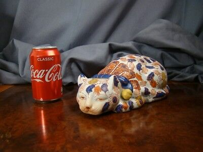 Super Large Vintage IMARI Japanese Porcelain Figure of a Cat