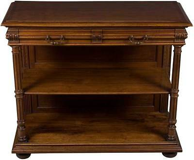 French Antique Walnut Flip Top Dessert Buffet Sideboard Server Hutch Marble FS!