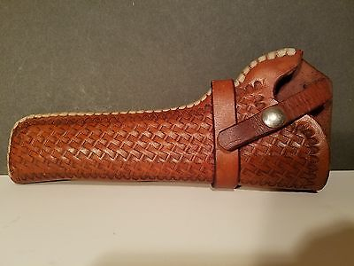 "Eubanks Leather pistol holster Ruger 6 1/2"" 3 in. belt R.H. Basket weave early"