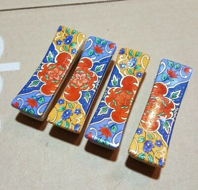 Set of 4 Japanese chopstick rests red Flowers