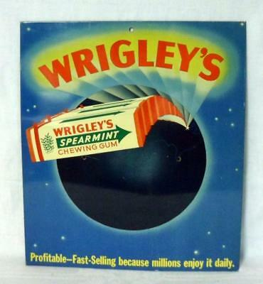 Wrigley's Spearmint Chewing Gum Tin Litho Advertising Sign