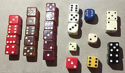 lot vintage dice - 11 red & amber translucent (bakelite?) - some rounded corner
