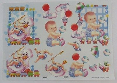 3D decoupage A4 page card making craft, 2 X baby pictures