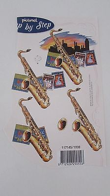 3D decoupage card making craft saxophone picture