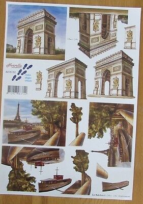 3D decoupage page, A4 card & craft making, Arc de Triomphe & Eiffel Tower