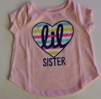Toddler Girls 18 Months Pink LITTLE SISTER T-Shirt Short Sleeves NWT Heart