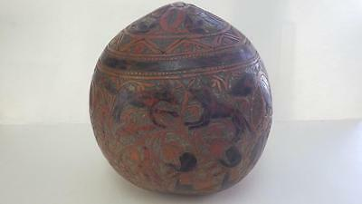 Antique Primitive Large Carved Gourd 'Bowl' with Lid Animals Birds African/Asian