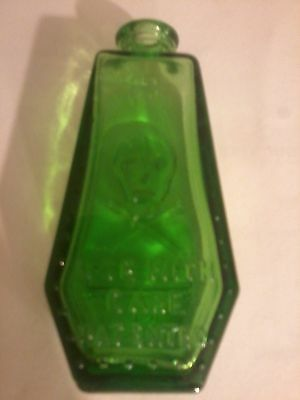 Green POISON RIP COFFIN Antique Bottle - Wheaton NJ  *Excellent Condition*